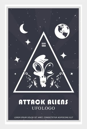 alien attack poster, humanoid face design in space, vector illustration