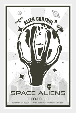 The hand of the aliens holds the earth, the concept of the power of aliens over human beings, vector ullustration. 向量圖像