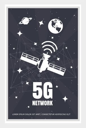 A poster with an internet satellite transmitting a signal to the ground, a printed poster 5G. Vector illustration