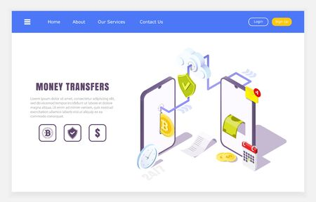 mobile transfers online application, isometric concept of financial transactions, vector illustration