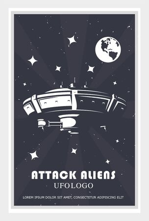 poster of a spaceship in space. Vector illustration