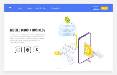 secure bitcoin transfers through mobile application, isometric vector illustration. 向量圖像