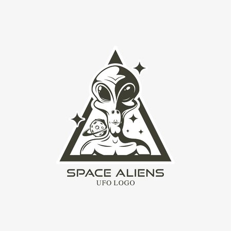 face of the alien logo isolated vector illustration 向量圖像