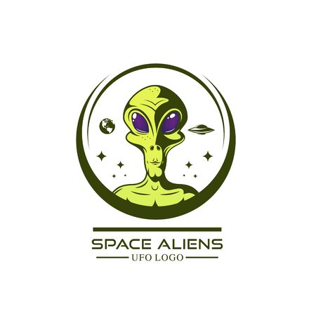 green aliens logo. Vector illustration