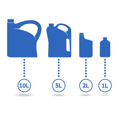 Plastic canisters blue set. Icons for the engine oil cans with different volume