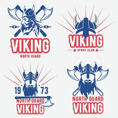 Set of viking emblems an labels 向量圖像