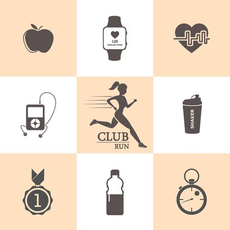 Healthy lifestyle. Vector icons in a flat style.