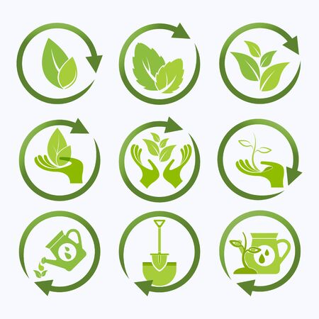 Ecology, organic icon set. Eco-icons 向量圖像
