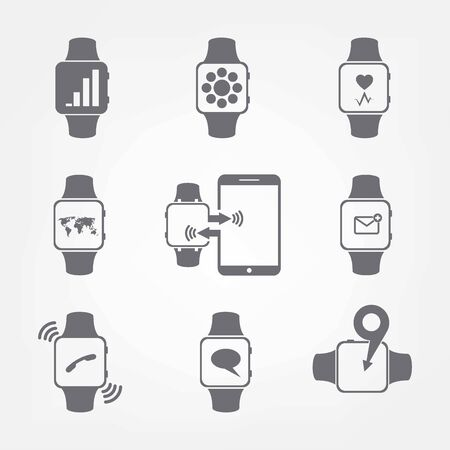 Smart clock icons, vector illustration