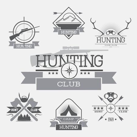 vector set hunting club labels, icons, and design elements on a gray background