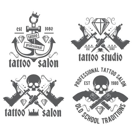 Tattoo studio emblems on a white background. Illustration tattoo parlor. Old school, workshop professionals tattoo, vintage label. 向量圖像