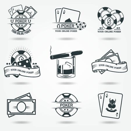 Money, chips, whiskey. Casino Poker logos. Set of vector icons of black. 向量圖像