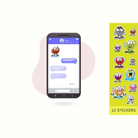 emotion stickers. chat stickers. Vector Flat Illustration