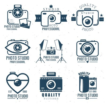 camera set emblems, original icons. Vector illustration