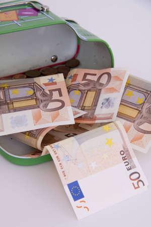 money box: Photo fifty euro notes in a Money Box