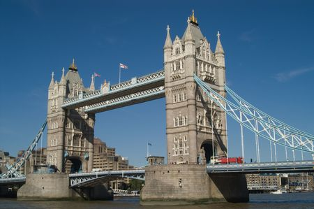 Tower Bridge with red bus, London, UK