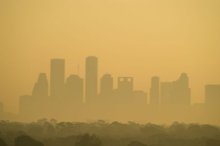 haze: Skyline of downtown Houston, Texas, USA