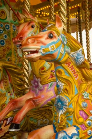 Merry go round detail featuring a colourful horse