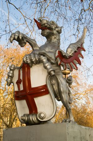 Griffin supporting the City of London coat of arms Stock Photo