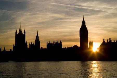 Houses of Parliamanet and Big Ben at sunset, London UK photo