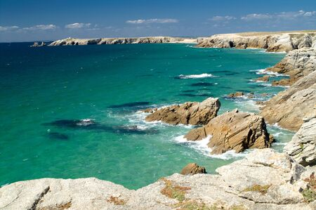 Cliffs and sea, Cote Sauvage, Britany, France