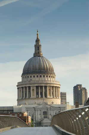 Saint Paul Cathedral and Millennium bridge at sunrise, London, UK Stock Photo