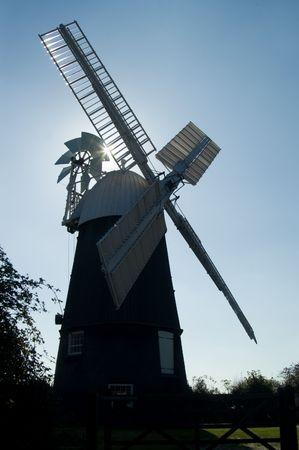 Silhouette of Wicken windmill, Cambridgeshire, England, UK