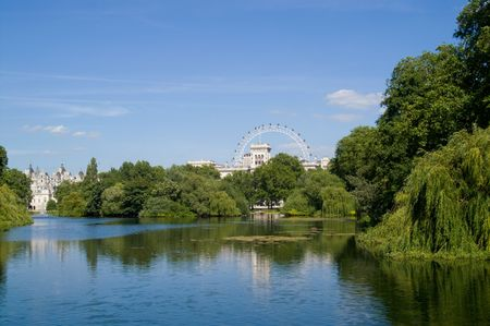 St James Park pond against a blue sky, London, UK Stock Photo