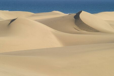 Beach sand dunes  with side lighting and blue sea Stock Photo