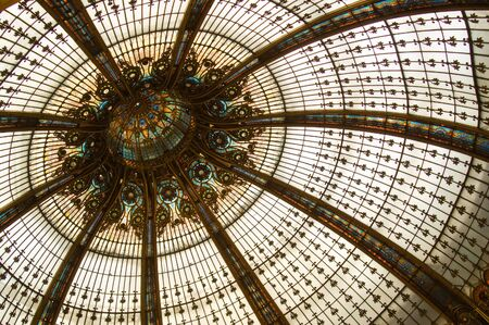 Detail of colourful classical stained glass dome Stock Photo