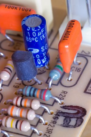 Electronic circuit board with several components, including resistors and capacitors Stock Photo