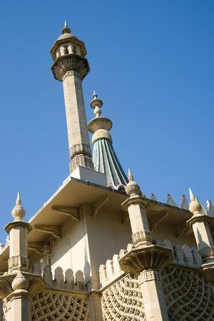 Close up detail of Royal Pavilion spires in Brighton,  against blue sky photo