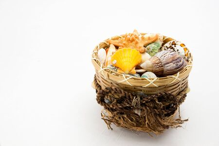 Wicker basket with several seashells isolated against white background