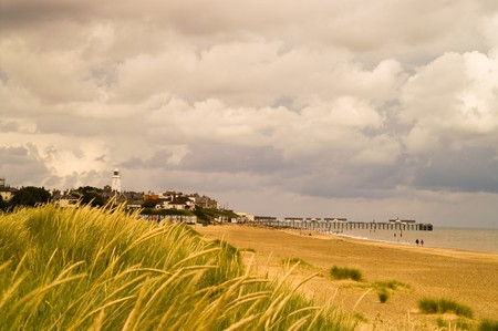 southwold: Detail of Southwold beach on a cloudy day Stock Photo