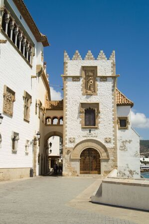 Detail of Palau Maricel in Sitges against deep blue sky Stock Photo