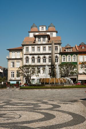 Toural square against blue clear sky in Guimaraes, Portugal