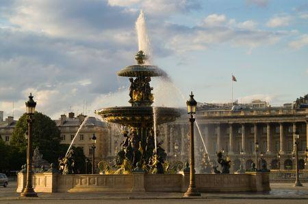 Place de la Concorde fountain at sunset, Paris, France