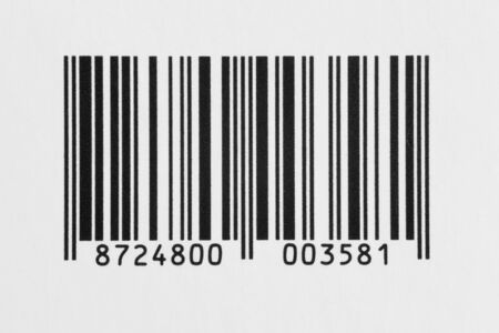 Macro detail of bar code label on white background Stock Photo