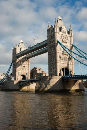 Tower bridge with reflection on Thames, London, UK