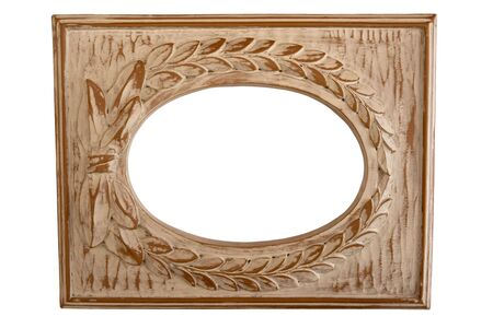 Old wood picture frame isolated against white background Stock Photo
