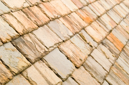 Colourful slate tile patterns with selective focus