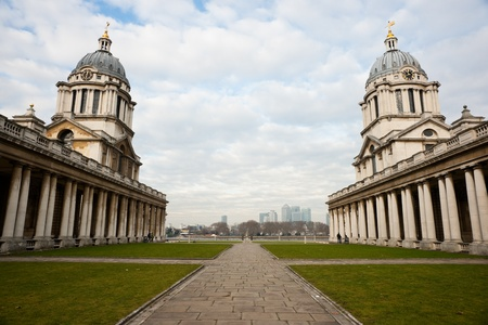 Greenwich, London, UK - 03 January 2011: Royal Naval College with Canary Wharf in the distance