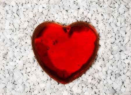 macadam: Red glass heart Stock Photo