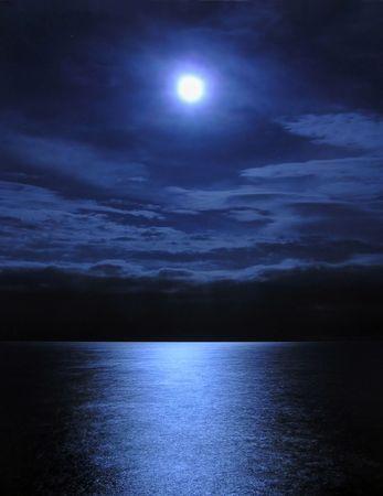Moonlight over the sea Stock Photo