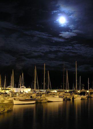 Boats at night Stock Photo