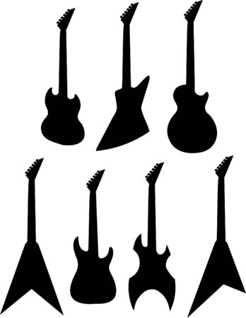 les: Black guitar silhouettes.  illustration.