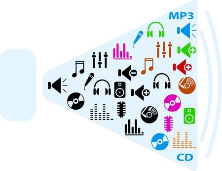 pictogrammes musique: ensemble des ic�nes de la musique. illustration.  Illustration