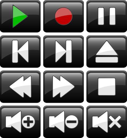 Set of black media buttons. illustration. Vector