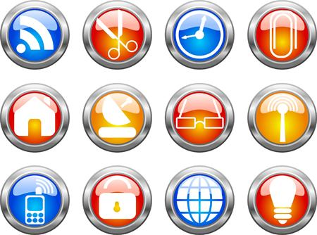 Set of color web buttons. illustration Stock Vector - 6916532