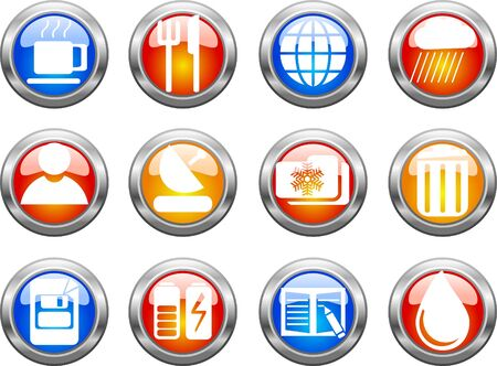 Set of color web buttons. illustration Vector